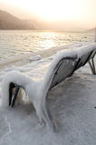 Frozen bench Stock Photography