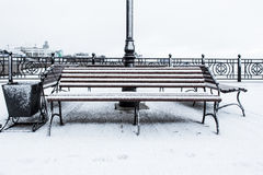 Frozen bench covered gritty rough hoarfrost on a cloudly winter day. Front view. Stock Photo