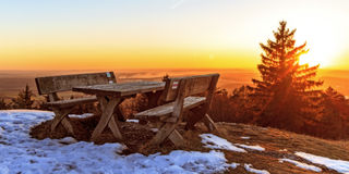 Frozen Bench. Bench on a Trail in a snowy bavarian February Stock Images