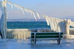 Frozen benches, Nyon, Switzerland Royalty Free Stock Image