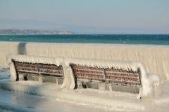 Frozen benches, Versoix, Switzerland Stock Image