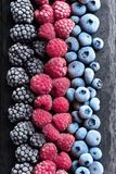 Frozen berries on black slate. Blueberry, raspberry, blackberry. Top view. High resolution product stock images