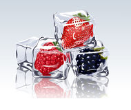 Frozen berries in ice cube. Frozen strawberry, blackberry and raspberry in ice cube Royalty Free Stock Image
