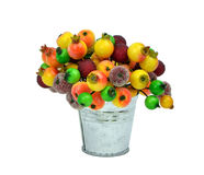 Frozen berries in metal pails. Isolated. Festive decorations. Royalty Free Stock Photo