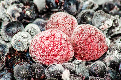Frozen Berries. Frozen raspberries, blueberries, and blackberries stock image