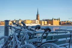 Winter in Stockholm, Sweden, Europe. Frozen bicycles and icy lake in Stockholm, Sweden`s capital in the winter Stock Image