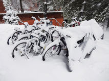 Frozen Bicycles Stock Photo