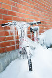 Frozen bike covered in ice Royalty Free Stock Photos