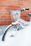 Frozen bike covered in ice Stock Image