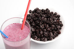 The frozen bilberry and cocktail. A close up stock photos