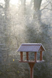 Frozen bird house. In first winter morning light Royalty Free Stock Photo