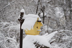 Frozen birdhouse. Cheerful yellow birdhouse covered in deep snow royalty free stock photo