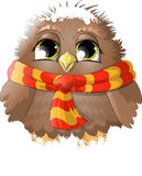 The frozen birdie. In a scarf vector illustration