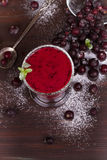 Frozen black currant berries smoothie with mint. royalty free stock image
