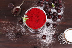 Frozen black currant berries smoothie with mint. royalty free stock photos
