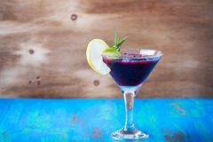 Frozen black currant margarita cocktail in a glass Royalty Free Stock Photos