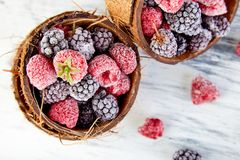 Frozen black and red raspberries in coconut bowl. Frozen black and red raspberries in coconut bowl Royalty Free Stock Photo