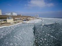 Frozen Black Sea in Odessa Ukraine. Aerial drone image of the Black Sea frozen at 12 Station Beach in Odessa Ukraine Royalty Free Stock Photos