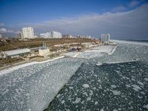 Frozen Black Sea in Odessa Ukraine. Aerial drone image of the Black Sea frozen at 12 Station Beach in Odessa Ukraine Royalty Free Stock Images