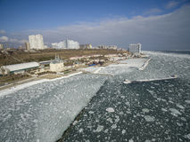 Frozen Black Sea in Odessa Ukraine Royalty Free Stock Photography