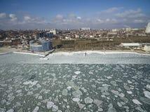 Frozen Black Sea in Odessa Ukraine Stock Photo