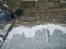 Frozen Black Sea in Odessa Ukraine Stock Images