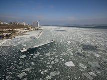 Frozen Black Sea in Odessa Ukraine Royalty Free Stock Photos