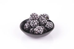 Frozen Blackberries in a Dish Stock Images