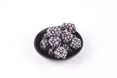 Frozen Blackberries in a Dish Royalty Free Stock Images