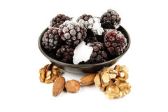 Frozen Blackberries and Nuts Stock Photo