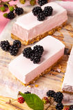 Frozen blackberry cheesecake Stock Photography