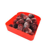Frozen blackberry in a red plastic box.  Royalty Free Stock Image