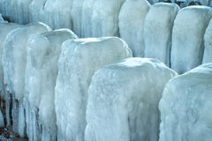 Frozen blocks of ice on the beach Royalty Free Stock Image