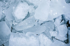 Frozen blocks of ice on the beach Royalty Free Stock Photo