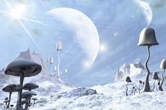 Frozen Blue Alien Landscape. 3d Digitally rendered illustration of a alien landscape covered with snow and ice, dotted with frozen giant mushrooms or toadstools Stock Photography