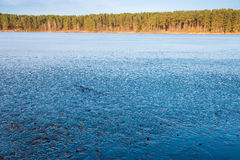 Frozen blue lake Royalty Free Stock Photography