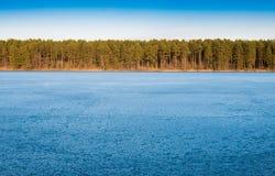 Frozen blue lake Stock Photos