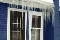 Frozen Blue Winter Icicles Royalty Free Stock Photos