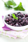 Frozen blueberries in bowl Royalty Free Stock Photography