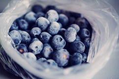 Frozen Blueberries In Plastic Bag Stock Photos