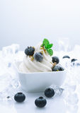 Frozen Blueberry Joghurt. Dessert. Fruity Yogurt Dessert with crushed ice cubes around Stock Image