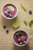 Frozen blueberry yoghurt. With mint leaves and lime stock images
