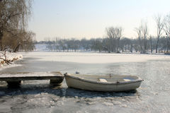 Frozen boat Royalty Free Stock Photography