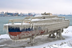 Frozen boat Royalty Free Stock Photo