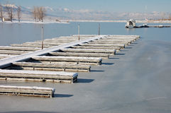 Frozen boat harbor Stock Photo