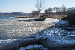 Frozen boat Stock Photo