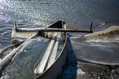 Frozen boat Royalty Free Stock Image