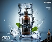 Frozen body wash ads. Frozen body wash in ice cubes with mint leaves and splashing water in 3d illustration on blue background royalty free illustration