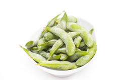 Frozen boiled soybeans in the pod Edamame. Frozen food, boiled soybeans in the pod Edamame Stock Images