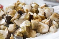 Frozen boletus mushrooms Stock Photo